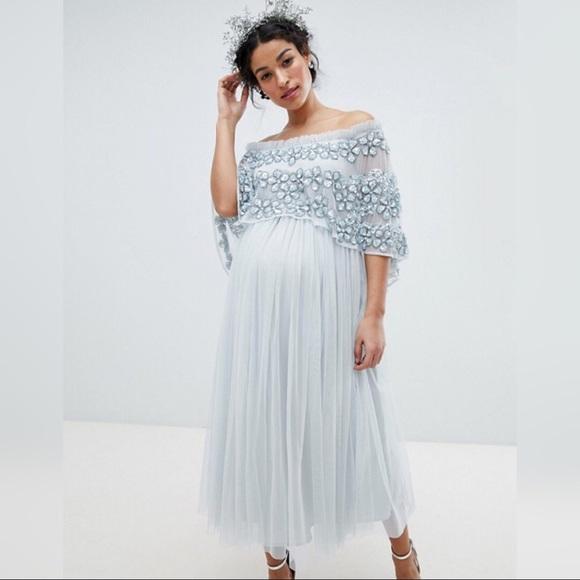 7cb3bb8d464 ASOS Maternity Dresses   Skirts - Maya Maternity Embellished Bardot Midaxi  Dress
